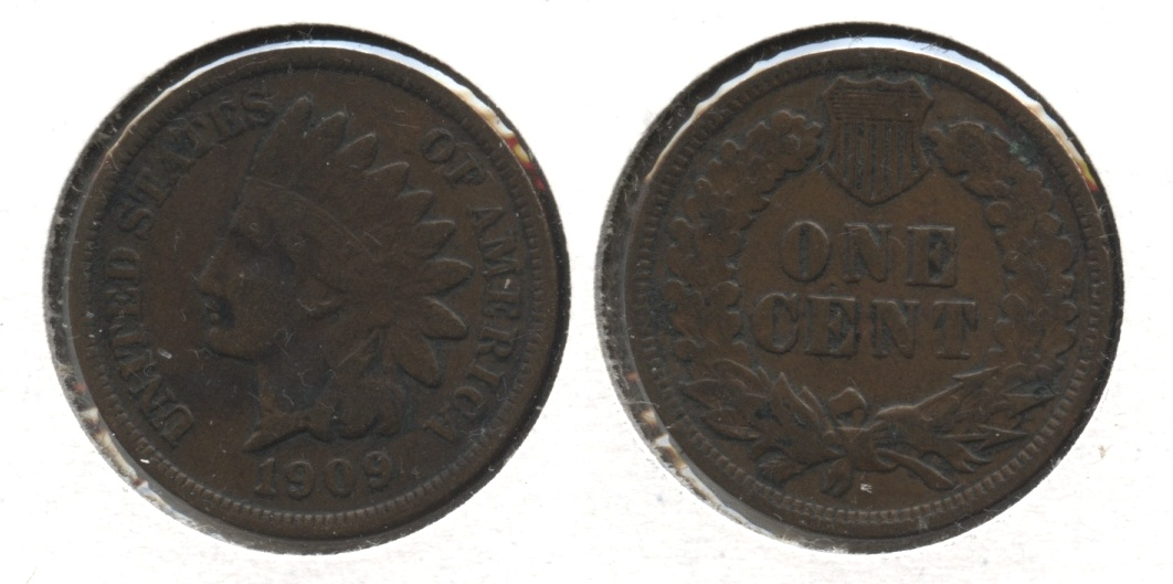 1909 Indian Head Cent Fine-12 #d Old Scratch