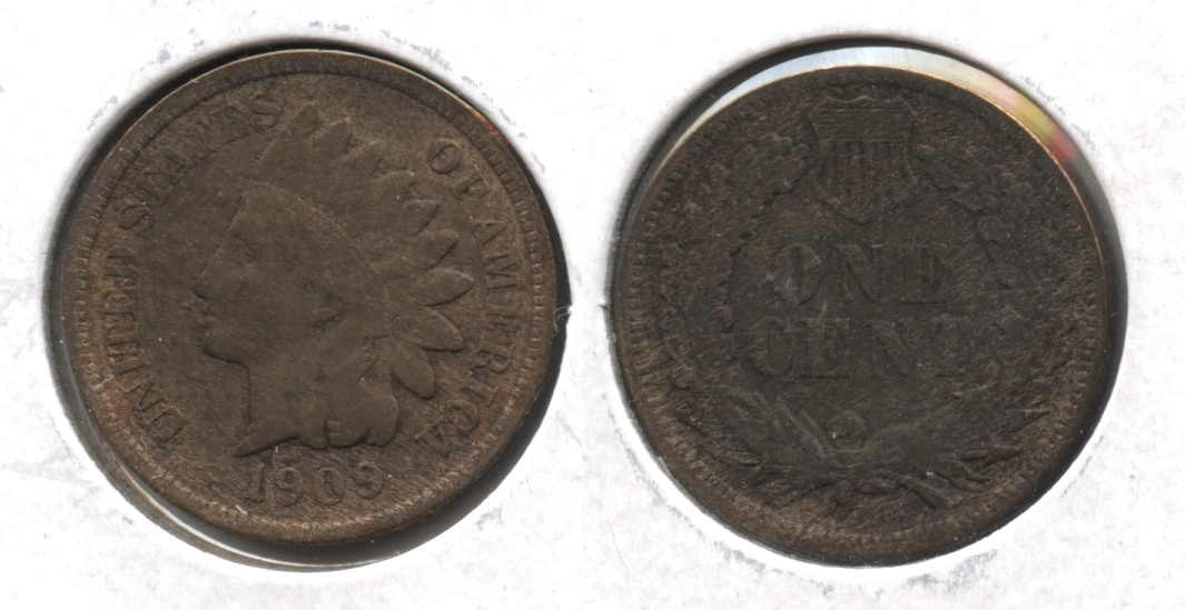 1909 Indian Head Cent Fine-12 #f Cleaned Retoned