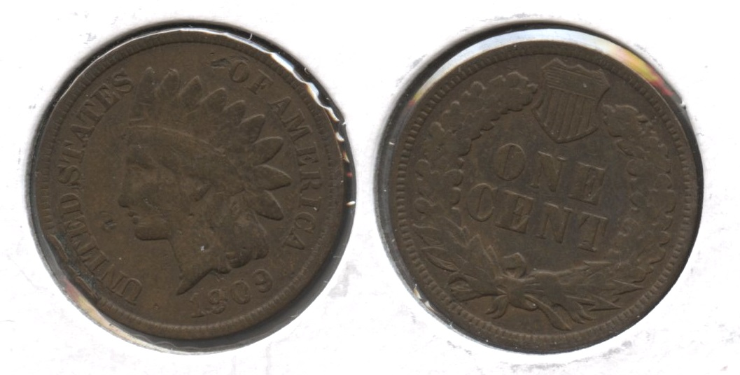 1909 Indian Head Cent Fine-12 #i Rim Bump
