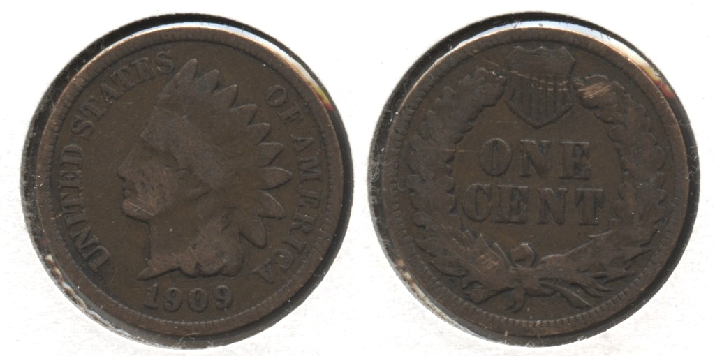 1909 Indian Head Cent Good-4 #o Surface Abrasion
