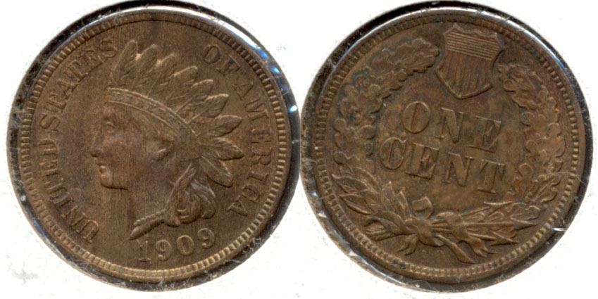 1909 Indian Head Cent MS-60 Brown a