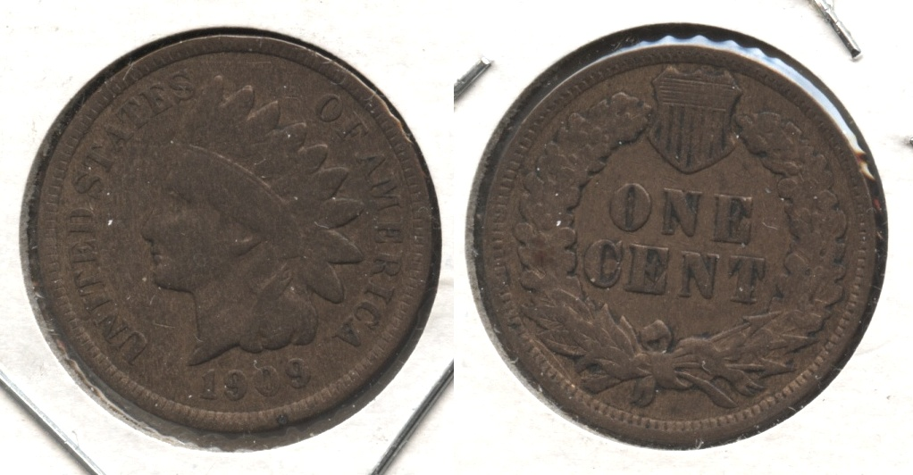 1909 Indian Head Cent VG-8 #f Cleaned Retoned