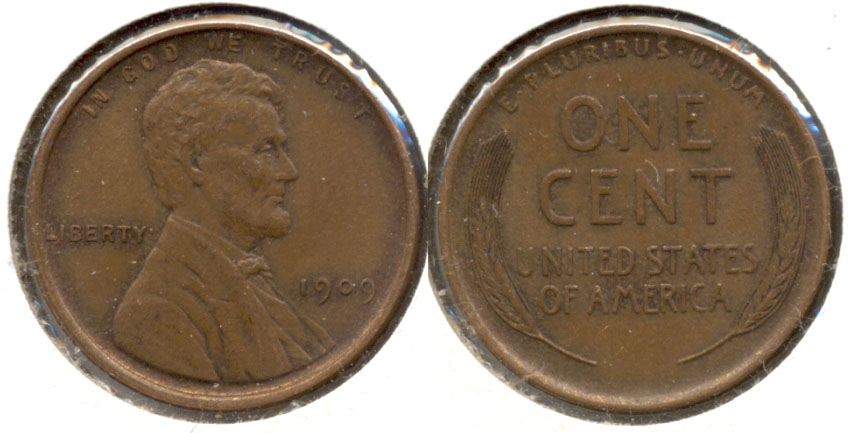 1909 Lincoln Cent AU-55 ac