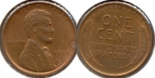 1909 Lincoln Cent MS-63 Red Brown