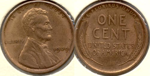 1909 Lincoln Cent MS-63 Red Brown b