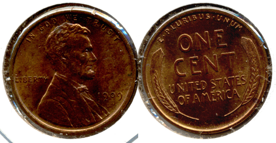 1909 Lincoln Cent MS-63 Red Brown f