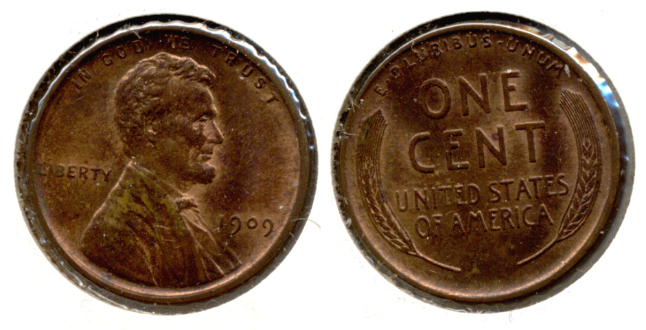 1909 Lincoln Cent MS-64 Red Brown a