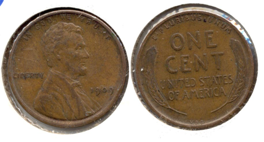 1909 VDB Lincoln Cent AU-55 at