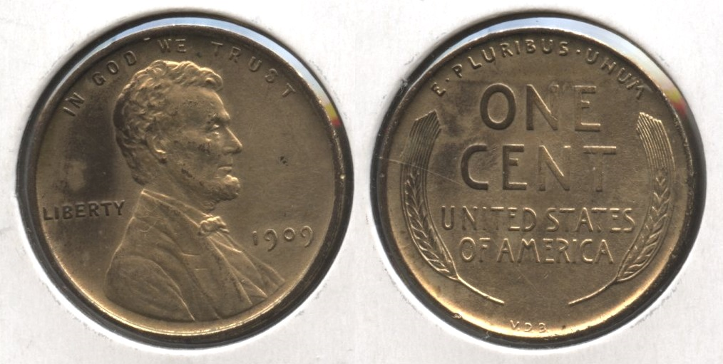 1909 VDB Lincoln Cent AU-55 #bd Gold