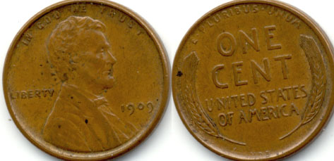1909 VDB Lincoln Cent EF-40 g