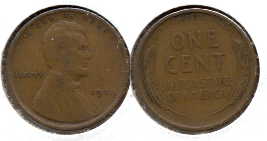 1909 VDB Lincoln Cent F-12 a
