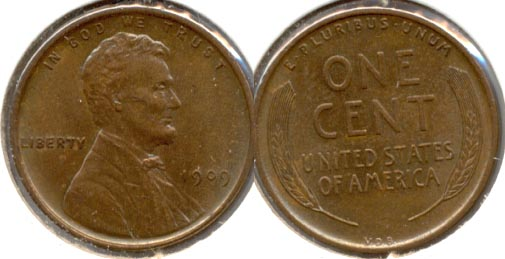 1909 VDB Lincoln Cent MS-60 Brown b