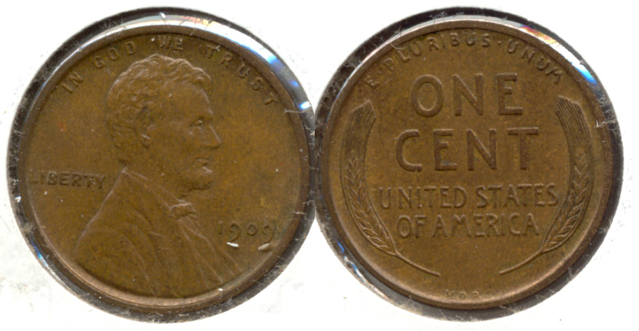 1909 VDB Lincoln Cent MS-60 Brown h