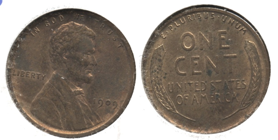 1909 VDB Lincoln Cent MS-60 Red Brown #b Spotty