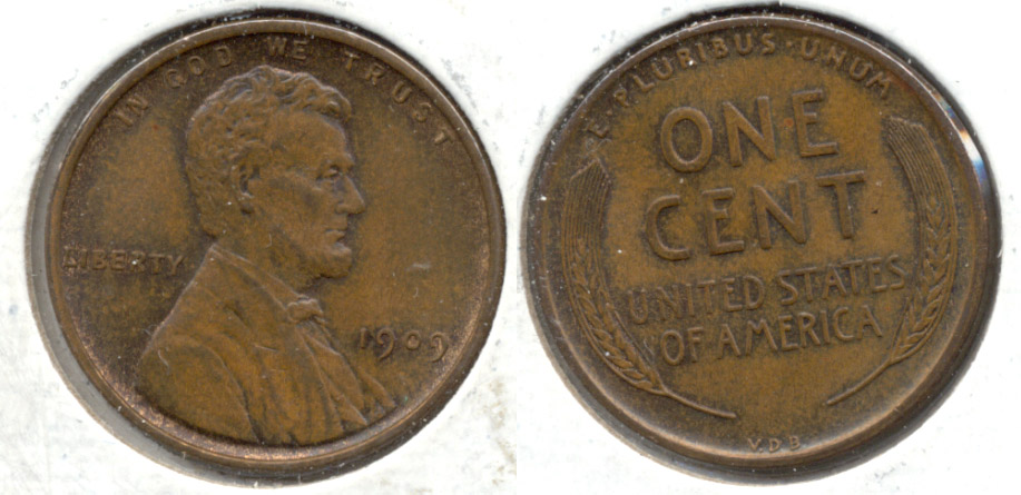 1909 VDB Lincoln Cent MS-63 Brown f