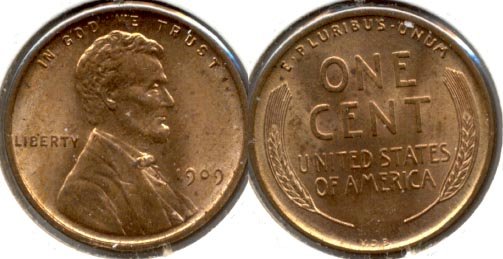 1909 VDB Lincoln Cent MS-63 Red Brown e