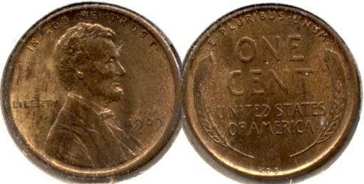1909 VDB Lincoln Cent MS-63 Red Brown f