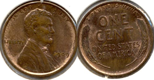 1909 VDB Lincoln Cent MS-63 Red Brown j