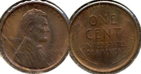 1909 VDB Lincoln Cent MS-63 Red Brown n