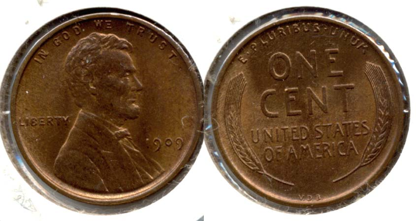 1909 VDB Lincoln Cent MS-63 Red Brown s