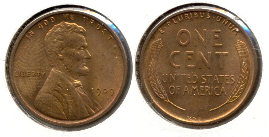 1909 VDB Lincoln Cent MS-63 Red Brown w