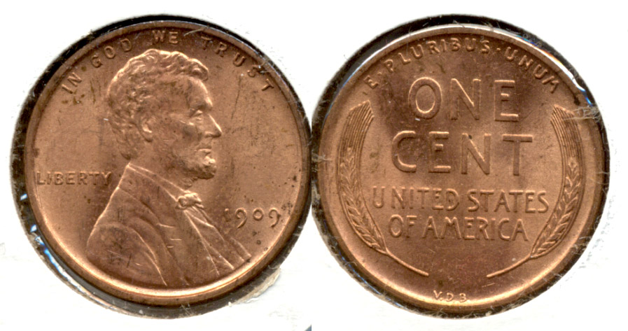 1909 VDB Lincoln Cent MS-63 Red b