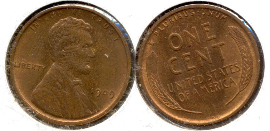 1909 VDB Lincoln Cent MS-64 Red Brown a