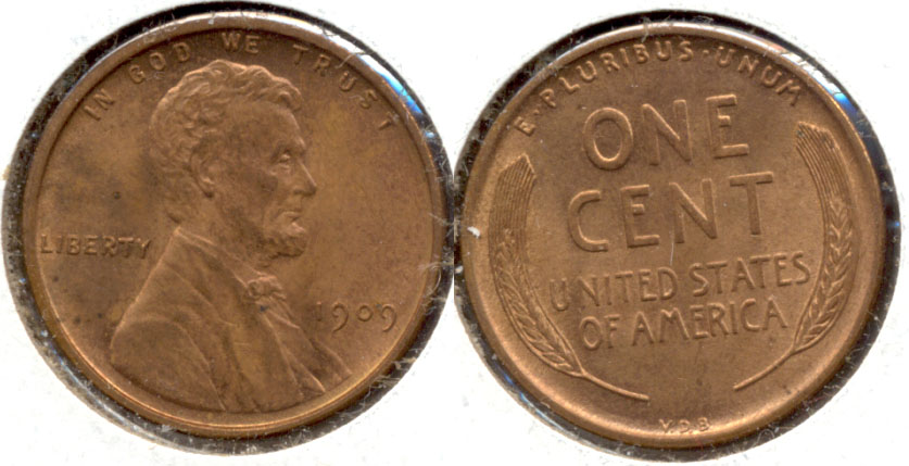 1909 VDB Lincoln Cent MS-64 Red Brown h