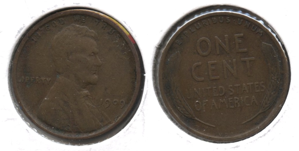 1909 VDB Lincoln Cent VF-20 #j Edge Verdigris