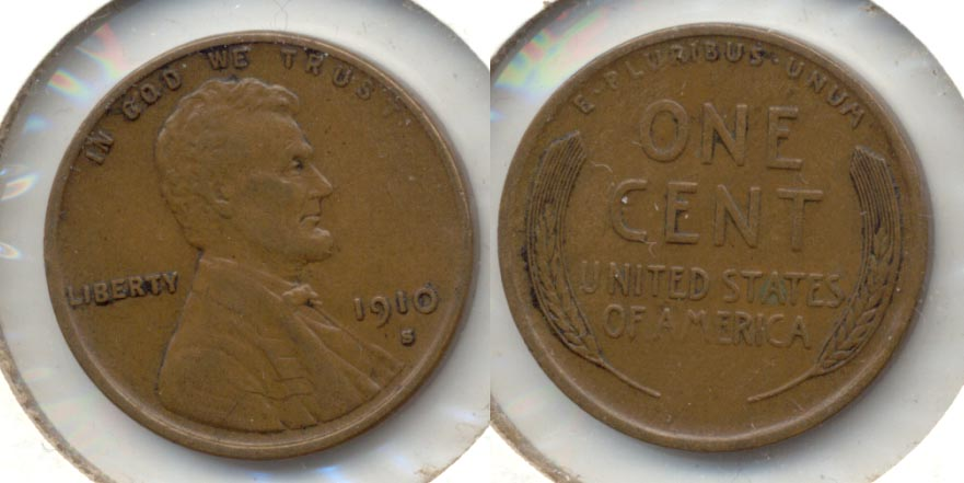 1910-S Lincoln Cent VF-20 d
