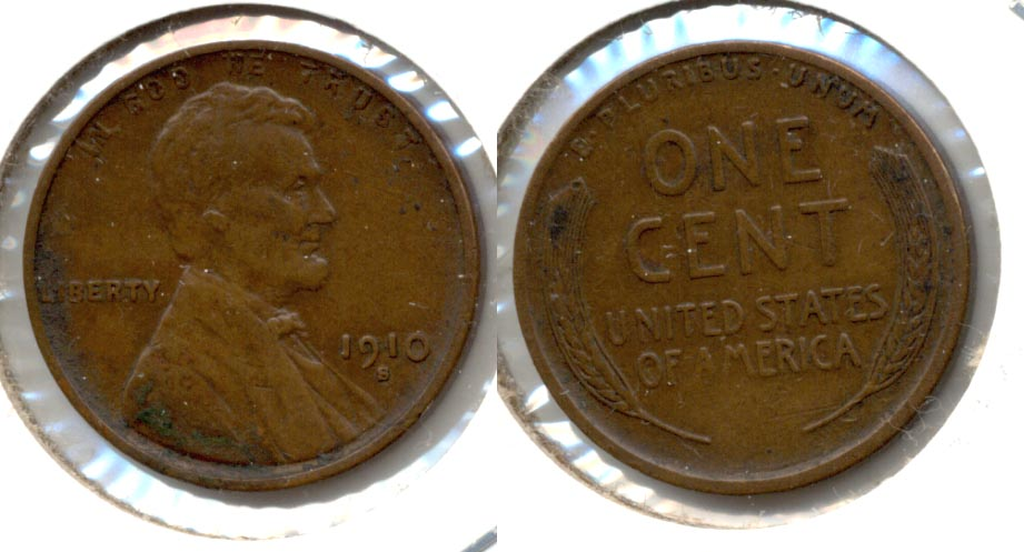 1910-S Lincoln Cent VF-20 f