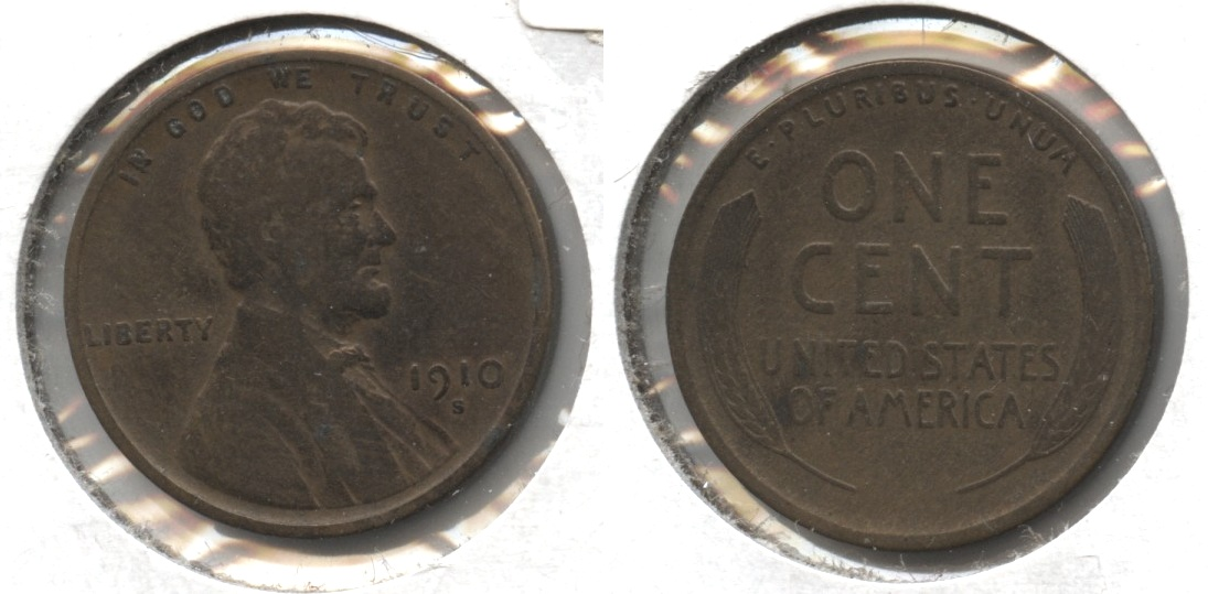 1910-S Lincoln Cent VG-8 #f Light Cleaning