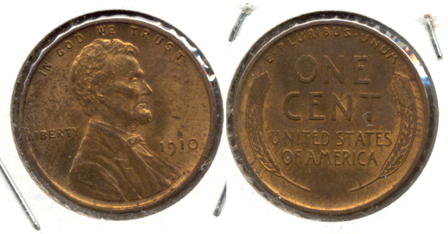 1910 Lincoln Cent MS-60 Red Brown