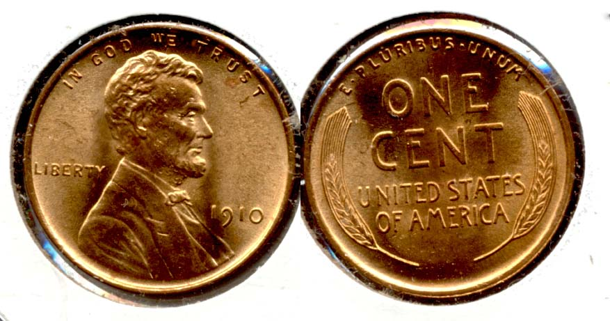 1910 Lincoln Cent MS-63 Red
