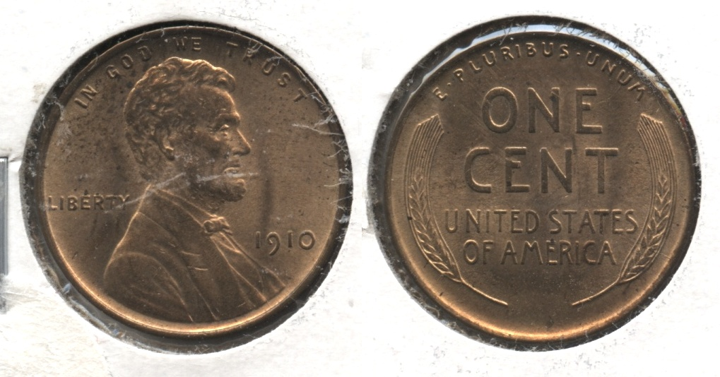 1910 Lincoln Cent MS-64 Red Brown