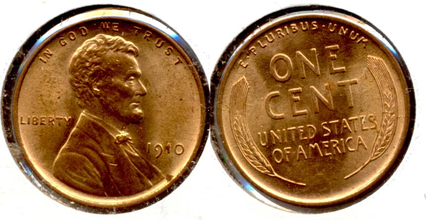 1910 Lincoln Cent MS-64 Red a