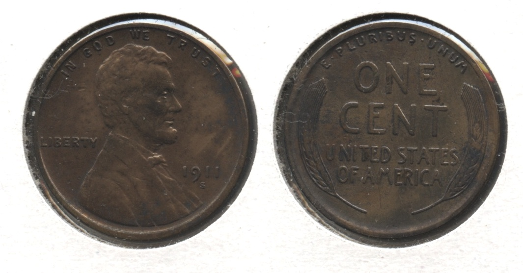 1911-S Lincoln Cent EF-40 #f Cleaned Retoned