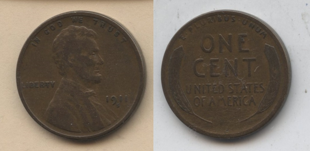 1911-S Lincoln Cent Fine-12 #n