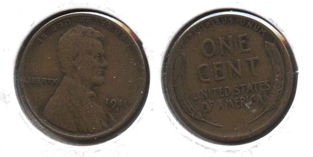 1911-S Lincoln Cent VF-20 #f