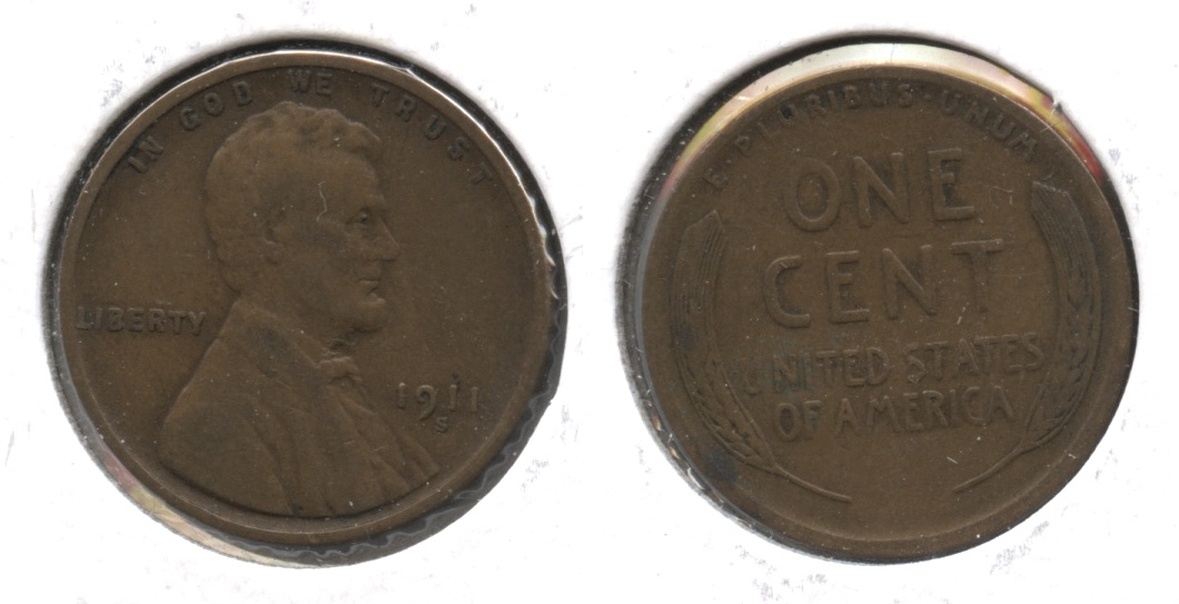 1911-S Lincoln Cent VF-20 #n