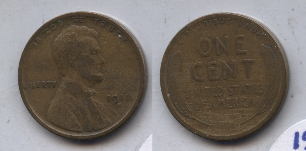 1911-S Lincoln Cent VG-8 #p