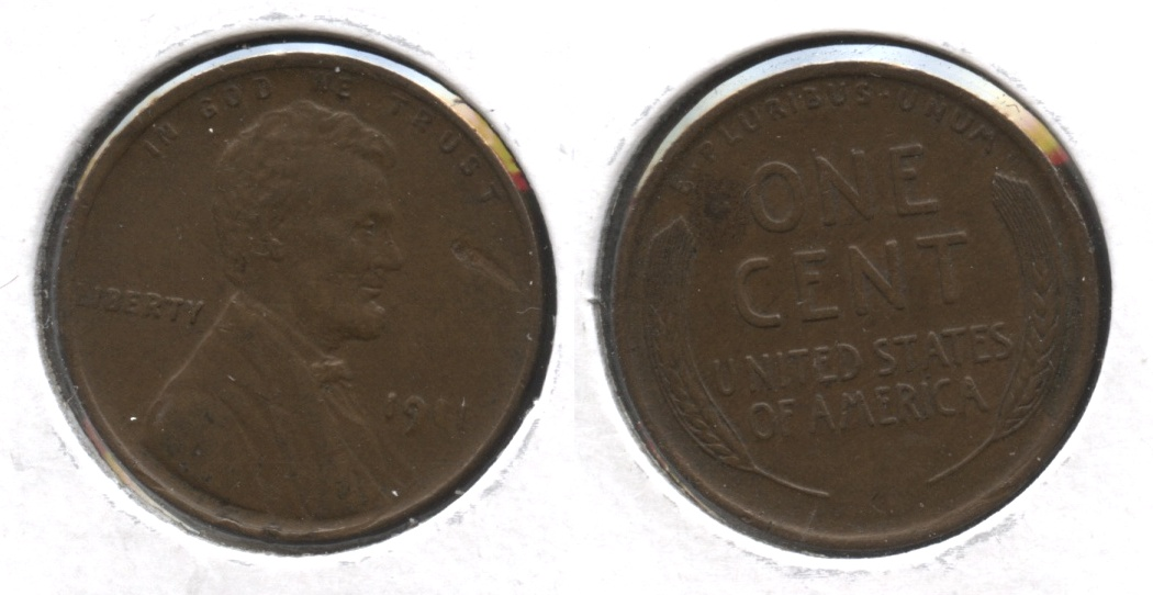 1911 Lincoln Cent AU-50 #i Obverse Mark