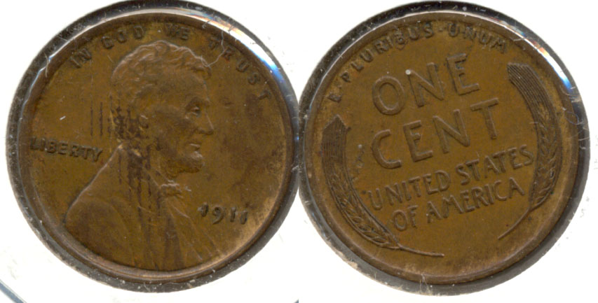 1911 Lincoln Cent AU-55 Reverse Tick e