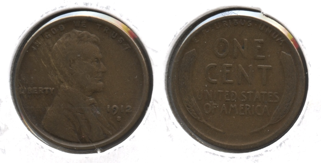1912-S Lincoln Cent Fine-12 #ae