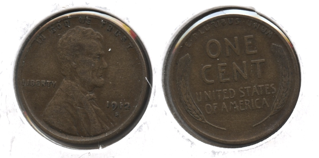 1912-S Lincoln Cent VF-20 #j