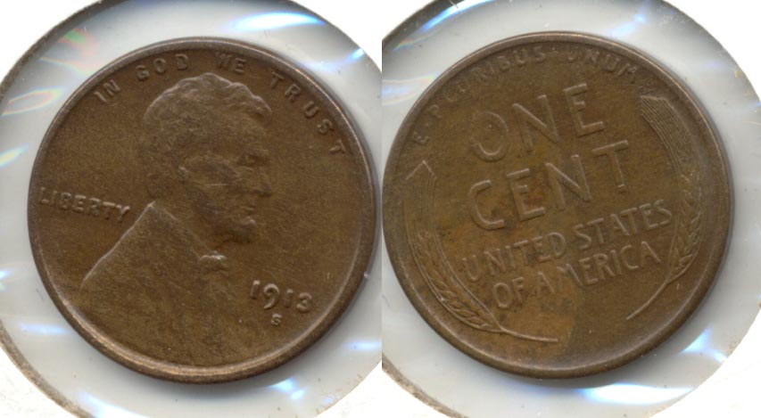 1913-S Lincoln Cent AU-50 b Cleaned Retoned