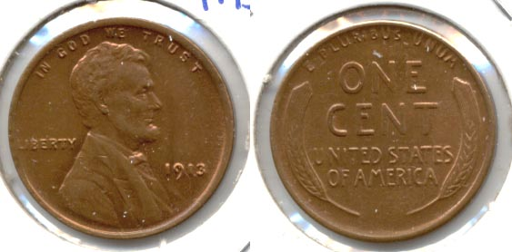 1913 Lincoln Cent MS-63 Red Brown