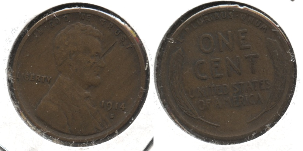 1914-S Lincoln Cent Fine-12 #i Obverse Lamination