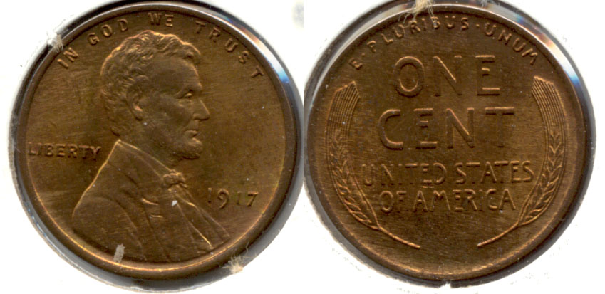 1917 Lincoln Cent MS-63 Red Brown b