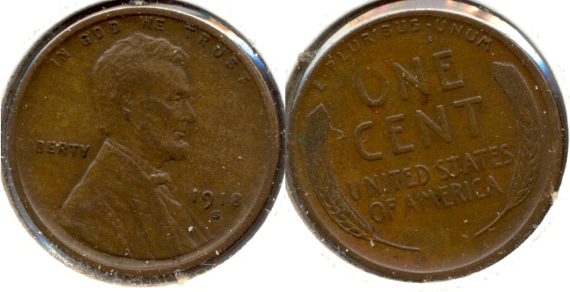 1918-S Lincoln Cent EF-40 b